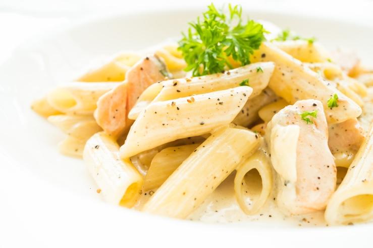 Penne carbonara pasta with salmon